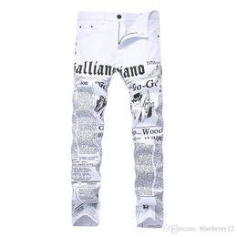 jornal de algodão Desconto Homens Jeans Robin calças estilo Inglês jornal impresso Cotton alta Elastic Demin Casual Pants Para Vendas