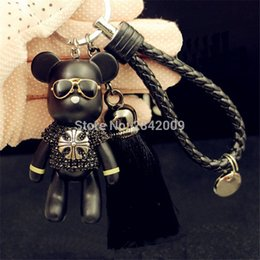 luxury Handmade rhinestone crystal Bear chains wear glasses pentagram cross Bomgom bears keychain car key rings Pendant C19011001 da portafogli in argento fornitori