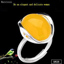 tamaño del anillo topacio amarillo Rebajas Maestosos 925 anillos de plata para las mujeres anillo de piedra amarillo del Topaz ágata Pure 925 anillos de plata para las mujeres joyería Tamaño Ajusta