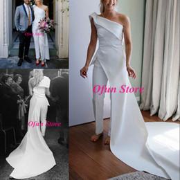 2019 anmutiges modernes brautkleider Mode eine Schulter Overall Brautkleider einzigartiges Design Satin Hofzug ärmellose Landhausstil Braut Brautkleider