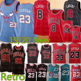 Camisetas de baloncesto 33 online-NCAA AJ 23 Michael Zach 8 LaVine Lauri 24 Markkanen Jersey retro Dennis Rodman 91 Scottie Pippen 33 jerseys del baloncesto