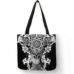 Bolsos negros estampado floral online-Cool Black Tattoo Animal Print Tote Bags For Women Floral Skull Bulldog Bolsos Bolsas de compras de lino reutilizables personalizadas