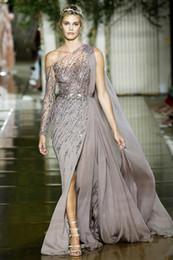 voller federrock Rabatt Runway 2020 neuer Trend Promkleider Sheer Ein Langarm-wulstige Sequins Promi-Abend-Partei-Kleid-Side Split Chic Kleid