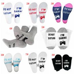 INS Sock Imprimir Carta não perturbe eu sou meias de jogo para Big crianças meninos meninas algodão estampado Mid carta Tubo de desporto Meias FFA3461 de