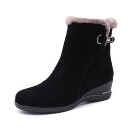 2019 botas de inverno longas 2018 Inverno Novo Lã Quente Ankle Boots De Pele De Lã Genuína de Couro De Grãos Completa Longo Botas De Neve De Pelúcia Mulheres Cunhas de Alta Qualidade Sapatos botas de inverno longas barato