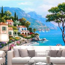 Fond d'écran personnalisé 3d Grand salon Photo Murale Mer Méditerranée Jardin Paysage Peinture à l'huile TV murale fond d'écran ? partir de fabricateur