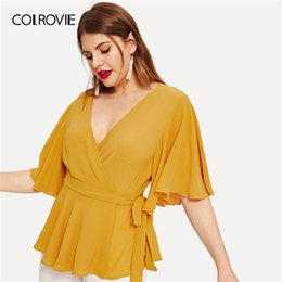 belted peplum shirts Coupons - COLROVIE Plus Size Ginger V Neck Ruffle Belted Wrap Elegant Blouse Shirt Women Peplum Top 2019 Summer Half Sleeve Office Shirts