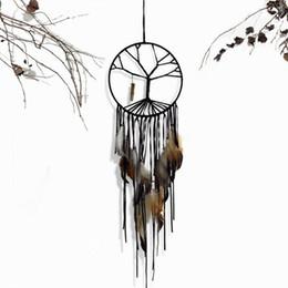Nappe di piume nere online-Dream Catcher 20cm dia. Black Tree of Life Dreamcatcher Piume Nappe Campanelli eolici Ciondolo appeso a parete Decorazione domestica