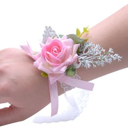 Bridesmaid Girl polso corpetto seta rosa fiore perla di perline di cristallo fatto a mano forniture di nozze all'ingrosso fiori da sposa a buon mercato supplier wholesale corsage silk flowers da fiori di seta all'ingrosso del corsage fornitori
