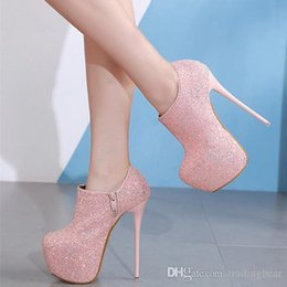 989414e831d Charm2019 16cm Luxury Black Pink Prom Gown Dress Shoes Glitter Sequins Ultra  High Heels Platform Ankle Bootie Shoes To