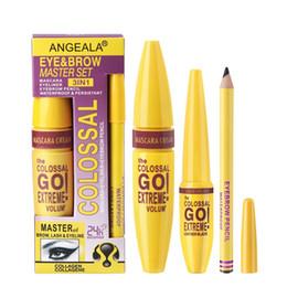 3 en 1Extreme Volumen Negro Mascara nata líquida Eyelliner de cejas lápiz de cejas archivo maestro del tatuaje tinte Pen Cosméticos desde fabricantes