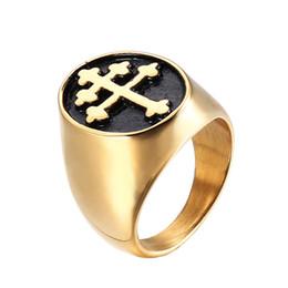 2019 anéis de dedo antigos Lujoyce lorraine cruz anel de prata cor de titanium aço inoxidável crux vera cruz anéis para homens jóias do punk transporte da gota