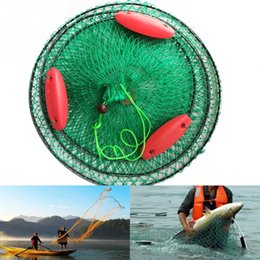 fishing floats materials Coupons - Portable Three Floating Ball Fish Net New Cast Mesh Cage Boat Fishing Catching Rubber Silk Material Fishing Net for Lure