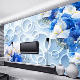 2019 moderne stoffwandkunst Bilder Wall Paper Moderne Art und Weise 3D-Kreise blaue Blumen TV Hintergrund Mural Non-Woven-Stoff Tapete für Schlafzimmer Walls rabatt moderne stoffwandkunst