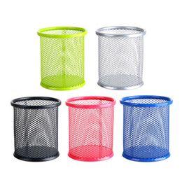 support en plastique Promotion Pot à stylo en maille métallique support de stockage de bureau petit outil à main organisateur tasse fournitures de bureau d'école de bureau DL_CR017