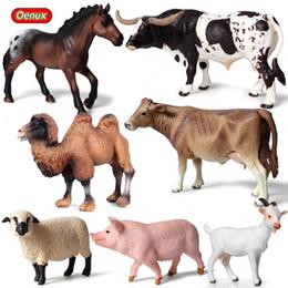 qualidade de brinquedos de fazenda animal Desconto Heap Figuras De Ação Brinquedo Oenux 7 pçs / set Animal De Fazenda Cavalo Vacas Modelo Figuras de Ação Adorável Porco Figurines Ovelhas Ve ...