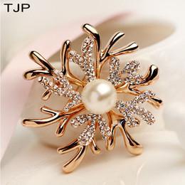 Broche de chifre on-line-das TJP Antlers Mulheres pérola coral da flor Broche de Ano Novo acessórios vestido Broches Mulheres