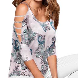 Верхняя блузка онлайн-Женщины сексуальный укороченный топ с принтом с плеча ремешок на шею блузка Blusas Mujer De Moda 2019 # 5T
