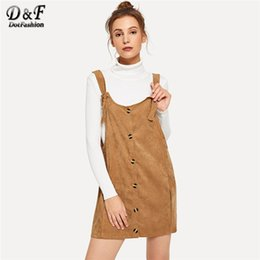 6b53dc408ba6 Dotfashion Camel Single Breasted Pinafore Corduroy Dress Women Clothes 2018  High Quality Autumn Casual Sleeveless Plain Dress