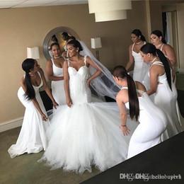 2019 queda de cintura vestido de noiva vestido Whie Sexy Meamaid Tule Vintage Boho Vestido De Noiva Para Meninas 2018 Vestidos De Noiva Querida Cintura Gota queda de cintura vestido de noiva vestido barato
