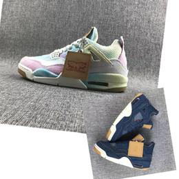 moda calça jeans Desconto 2019 new fashion new mens tênis de basquete 4 Denim Branco Azul arco-íris jogo red 4s Jeans mens sports designer Sneakers