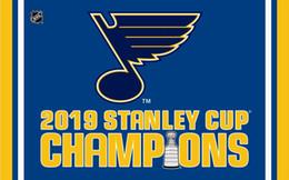 drapeau en nylon Promotion St. Louis Blues 2019 champions coupe drapeau 90x150cm polyester bannière impression numérique avec 2 œillets en métal 3x5ft vente chaude drapeau