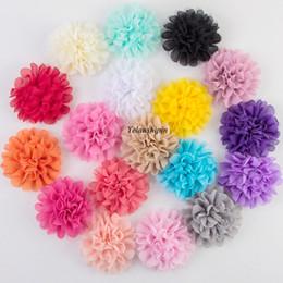 Pinzas para el cabello tela flores online-10pcs / lot 12CM 18colors Hair Fluffy Chiffon Mesh Lace Flowers Clip para niños Accesorios para el cabello Fabric Flowers For Headbands Supply