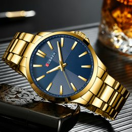 Men Watches Top  Gold Stainless Steel Band CURREN Quartz Watch Mens Waterproof Business Male Clock Relogio Masculino от