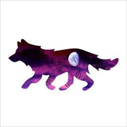 Vinilos de pared lobos online-Para gráficos Luna Noche Lobo Casco Ventana Pared Portátil Vinilo Pegatinas Calcomanía Personalidad Accesorios