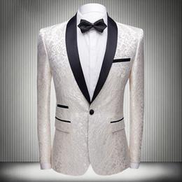 2019 hombres de esmoquin estampados Gentlemen One Buttons Wedding Tuxedos Slim Fit Floral Pattern Groom Wear Tuxedos Suit Best Men Prom Party 2 Piezas (Pantalones + Chaqueta) rebajas hombres de esmoquin estampados