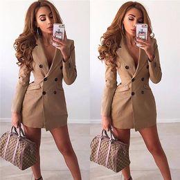 Chaquetas formales para mujer online-Blazers de diseñador formal para mujer Cárdigan de botón delgado con cuello en v Tops para mujer Ropa sexy para mujer