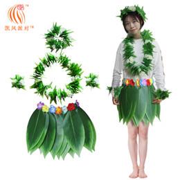 Bracciale hula online-Hula Skirt Hawaiian Costume Set con foglie verdi Collana bracciali Fascia per spiaggia Luau Party Dancing Cosplay Adulti Bambini