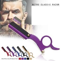 Barbear de barbear on-line-Lâminas de Aço Inoxidável Manual Reta Borda Barbeiro Navalha de Barbear Navalha Barba Vintage Clássico Clássico Barba Ferramentas de Remoção de Pêlos GGA2367