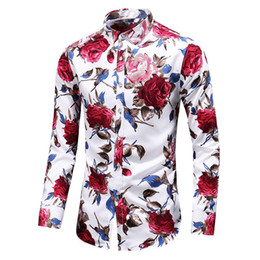 satin blouses shirts Promo Codes - Men's Shirt Print Long Sleeve Flower Shirt Men Floral Rose Casual Blouse Men clothing Summer Red White