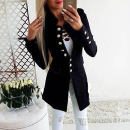 blinetes formadores de blusa feminina Desconto Mulheres Senhoras Casuais Single-breasted Formais Longo Blazer Jacket Slim Fit Casaco QL Venda