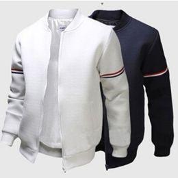 3XL Mode Sportwear Männer Baseball Jacke Dekorative Band Weiß Mantel Lässig Männer Bomberjacke Herren und Mantel