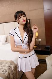 Livraison gratuite nouvelle lingerie sexy cosplay blanc bleu femme fendue profonde jupe courte performance vêtements police uniforme deux ensembles de str avant ? partir de fabricateur