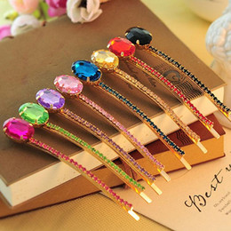 Pedras preciosas cristais on-line-Hairpin Gum Coreano Elegante Gem Diamante Crystal Hairpin Box Side Aperto A Palavra Pasta Cocar Cabelo Jóias