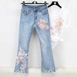 fbbdecdb00468a 2019 pailletten-jeans 2019 luxus loch neue hosen weibliche jeans retro  stickerei pailletten 3d floral