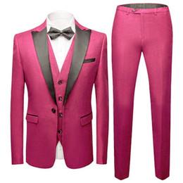 il miglior uomo si adatta alla cravatta rosa Sconti Groomsmen su misura Hot Pink Smoking dello sposo Picco nero Risvolto degli uomini Abiti da sposa Best Man Blazer (giacca + pantaloni + vest + cravatta) C483