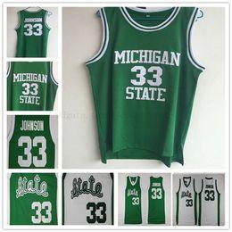 curry de oro blanco Rebajas Mens Youth 33 Johnson Michigan State Spartans camisetas de la NCAA # 33 Johnson College camisetas de baloncesto cualquier nombre cualquier número