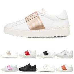 chaussures de sport n lettre Promotion Valentino 2019 Nouveau arrivel Designer Chaussures Blanc Mode Hommes Femmes En Cuir Casual Ouvert Bas Baskets Sport Taille 35-46 Avec la Boîte