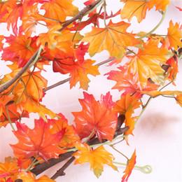Fiori artificiali canada foglie d'acero rosso foglia verde ghirlanda nozze decorazioni d'autunno giardino di casa e decorazioni per matrimoni da