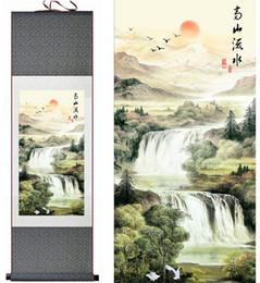 Fiumi di pittura online-Pittura di arte del paesaggio della pittura del rotolo della pittura cinese del fiume e della montagna