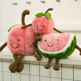 wassermelone plüschtier Rabatt Nette Wassermelone Kirsche Plüsch-Spielzeug Reizende Karikatur-Frucht-Plüsch-Kissen weich gefüllte Puppe Geburtstag Weihnachtsgeschenke