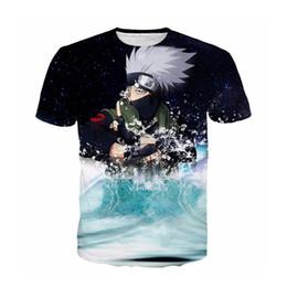 naruto colarinho Desconto Mais novo Anime Clássico Naruto Hatake Kakashi T-shirt 3D Impressão Dos Homens / Das Mulheres Unisex Engraçado Verão Gola Redonda Manga Curta Casuais Tops K813