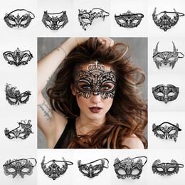 Máscara láser negra veneciana online-Mujeres Máscaras de fiesta venecianas Moda Metal negro Corte por láser XMAS Vestido Traje Muestra Mascarada de boda Máscara de media cara TTA1593