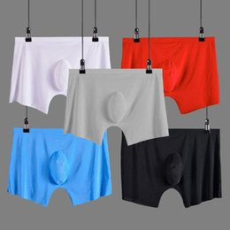 Roupa interior shorts sem costura on-line-4pcs / lot Men Underwear Boxer Shorts Mens Silk Ice Seamless U Convex Muito de Sexy Kilot homens macho macio Cueca Cueca Boxer Homme