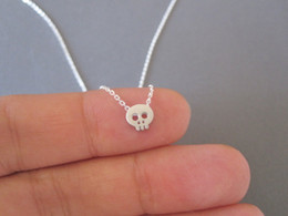 alien charms Coupons - 10 terror small Skull head skeleton charm Necklace Cute Sneaky Alien Necklace Simple Devil Skeleton Ghost Man Tatar Horror necklace Jewelry