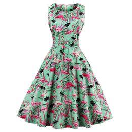 2019 vestido de cisne vestido mulheres Wipalo Novo Plus Size Cisne Flamingo Imprimir Vestido Vintage Mulheres Pin Up Robe Rockabilly A Linha de Vestidos de Festa Feminino Túnica Vestidos Q190429 desconto vestido de cisne vestido mulheres